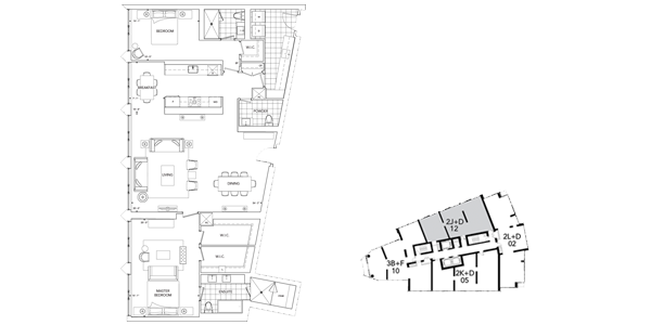 Floor Plan of Ten York Condo Suite 2J+D