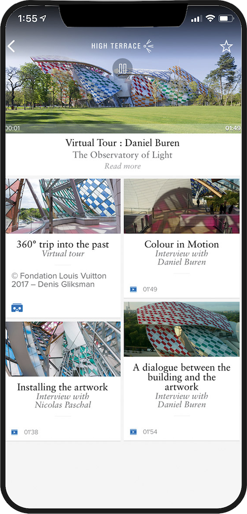 FONDATION LOUIS VUITTON Phone App displayed on an iPhone