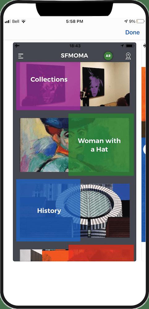 SAN FRANCISCO MUSEUM OF MODERN ART (SFMOMA) Phone App displayed on an iPhone