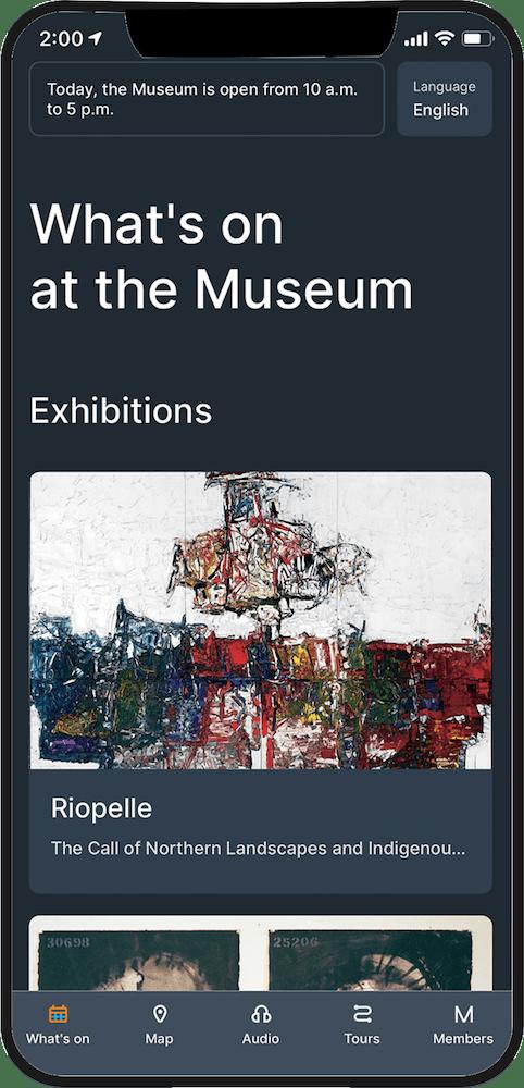 MUSÉE DE BEAUX-ARTS DE MONTRÉAL Phone App displayed on an iPhone